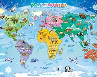 World Map Tray Puzzle (animals, special ed, puzzzles)