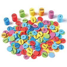 Place Value Disks ( counting, math, hands-on) (Suggested CP2, CP3, CP4, CP5, BC2, BC3, BC4, BC5)